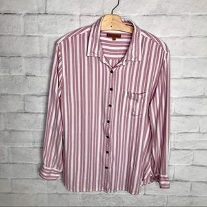 Jachs Girlfriend Button Down Top Pink White L